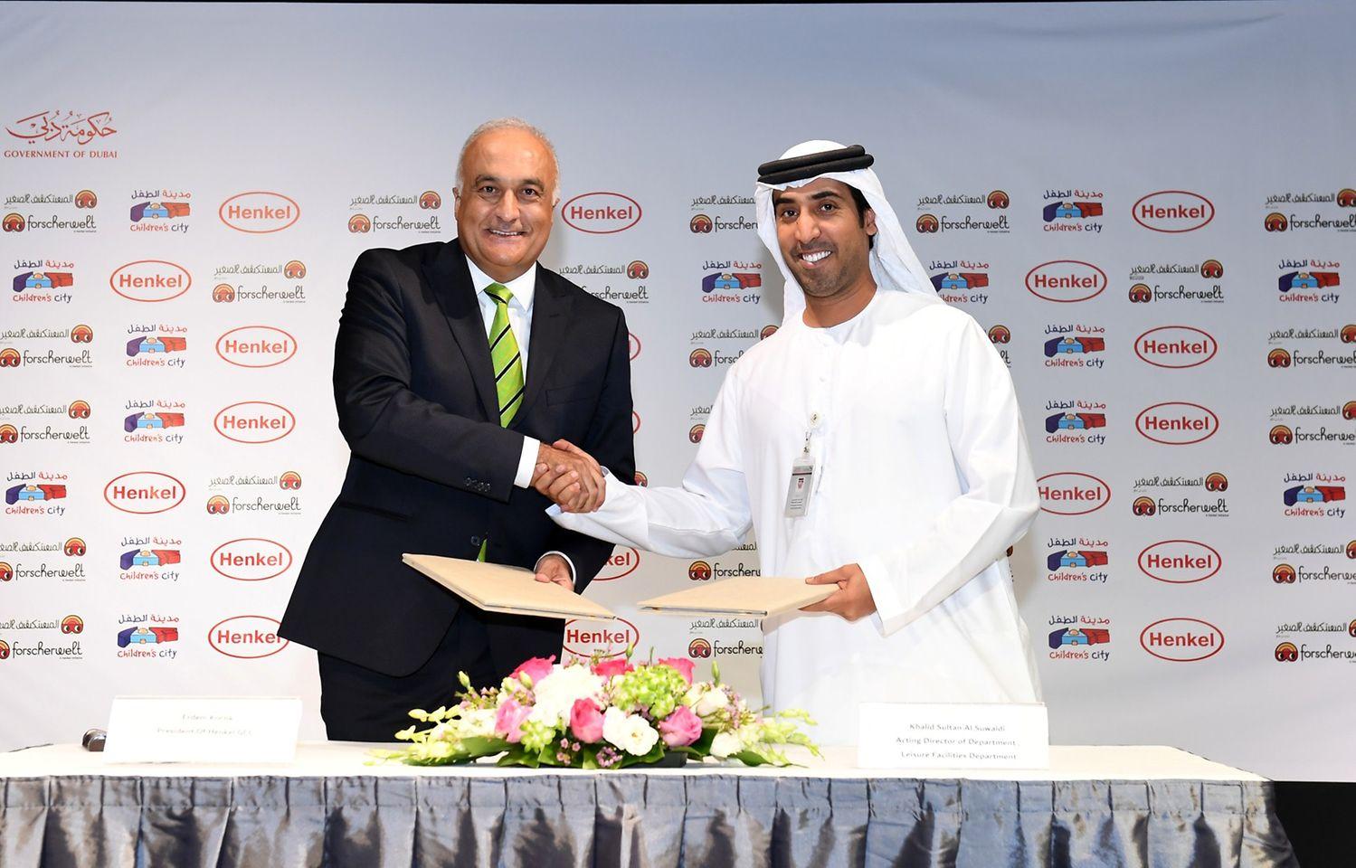 Erdem Koҫak, President of Henkel GCC; Khalid Sultan Hilal Humaid Alsuwaidi, Acting Director of Department, Leisure Facilities Department