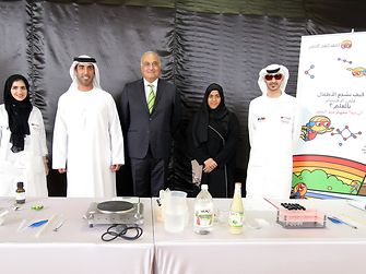 Khulood AlKhoori, Educational Program Officer Children's City - Leisure Facilities Department; Khalid Alsuwaidi, Acting Director of Department, Leisure Facilities Department; Erdem Koҫak, President of Henkel GCC; Naila Rashid Al Mansoori, Head of Children's City, Children's City - Leisure Facilities Department; Obaid Abualshuwareb, Principal Electronics Engineer, Children's City - Leisure Facilities Department